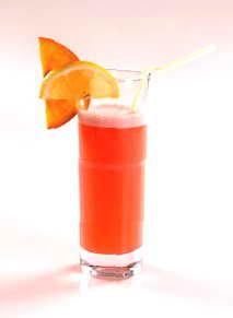 В шейкере смешать соки с сиропом.  Подавать в стакане хайбол, долив тоник.